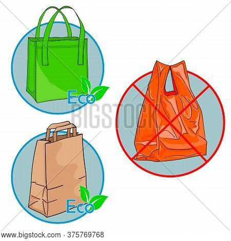 Illustration Of Shopping Eco Bags Versus Plastic. A Textile Bag, A Paper Bag And A Plastic Bag. Icon