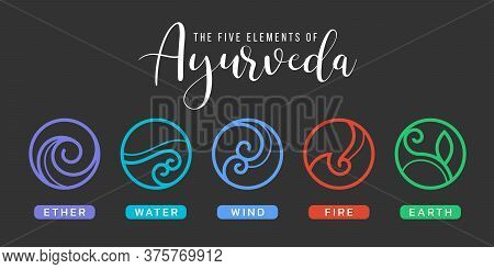 The Five Elements Of Ayurveda With Ether, Water, Wind, Fire, And Earth Circle Abstract Border Line I