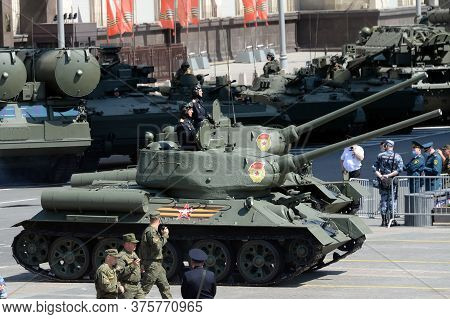 Moscow, Russia - June 24, 2020:t-34-85 Medium Tanks On Okhotny Ryad During The Parade Dedicated To T