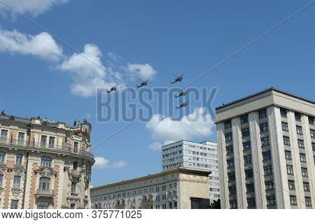 Moscow, Russia - June 24, 2020:a Group Of Mi-28n