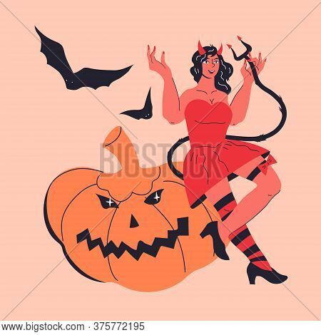 Sexy Devil Girl In Red Halloween Costume Sitting On Pumpkin Vector Illustration Isolated.