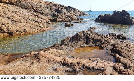 Landscape With Stones In Piana Beach, Corsica, France
