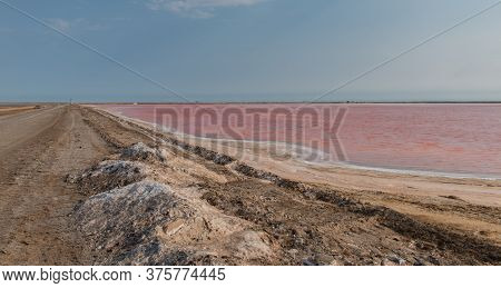 Pink Lake Water Of The Salt Works In Walvis Bay, Namibia South Africa