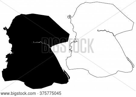Port-au-prince City (republic Of Haiti, Hispaniola Island, Ouest Department) Map Vector Illustration