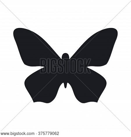 Silhouette Of Black Butterfly In Vintage Style. Isolated Vector Black Silhouette Butterfly Image. Lo