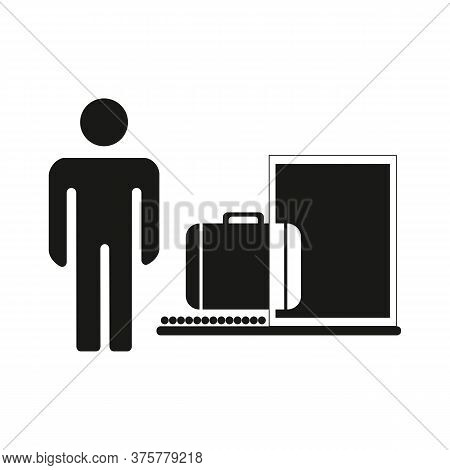 Baggage Inspection Icon, Customs Revision, Web Symbol On White Background