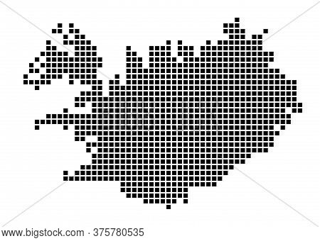 Iceland Map. Map Of Iceland In Dotted Style. Borders Of The Country Filled With Rectangles For Your