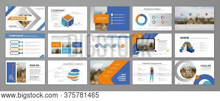 Blue And Orange Abstract Presentation Slide Templates. Infographic Elements Template  Set For Web, P