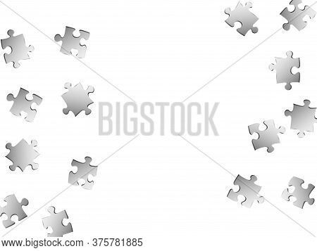 Abstract Crux Jigsaw Puzzle Metallic Silver Parts Vector Illustration. Top View Of Puzzle Pieces Iso