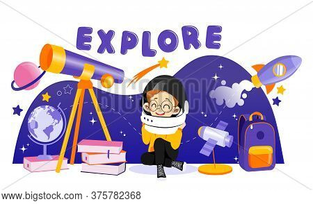 Concept Of Astronomy And Back To School. Boy Astronomer Interested In Science. Boy In Space Helmet I
