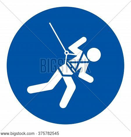 Body Harness And Lifeline Required Symbol Sign, Vector Illustration, Isolate On White Background Lab