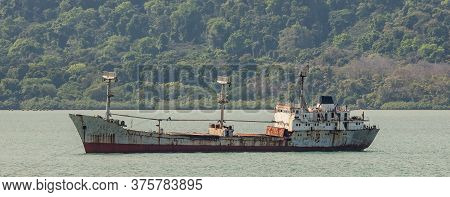 Shipwreck. Remains Of An Old Tanker In Panama Canal