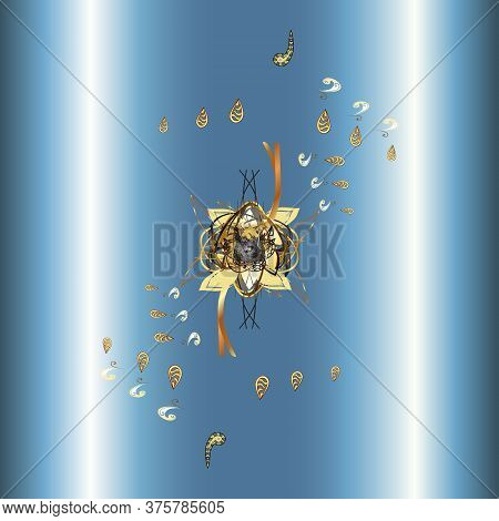 Floral Pattern. Illustration In Neutral And Blue Colors. Flourish Ornamental Garden. Vector Illustra