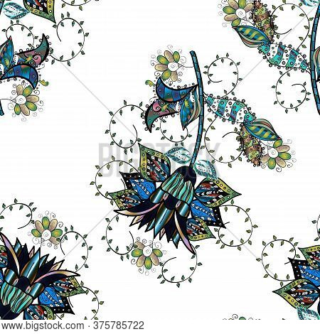 Flowers On Black, White And Blue Colors. Colour Spring Theme Seamless Pattern Background. Flat Flowe