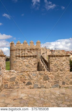 AVILA, SPAIN - April 25, 2019: Ancient fortification of Avila, Castile and Leon, Spain