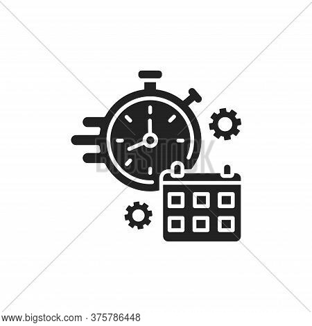 Deadline Black Glyph Icon. Time Management. Timer And Punctuality Concept. Sign For Web Page, Mobile