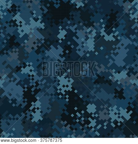 Military Camouflage Seamless Pattern. Navy Marine Digital Pixel Style.