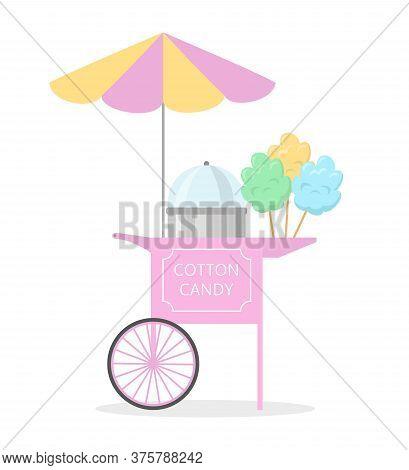 Cartoon Cotton Candy Cart, Street Food. Vector Illustration.