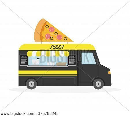 Cartoon Pizzay Trailer, Street Food. Vector Illustration.