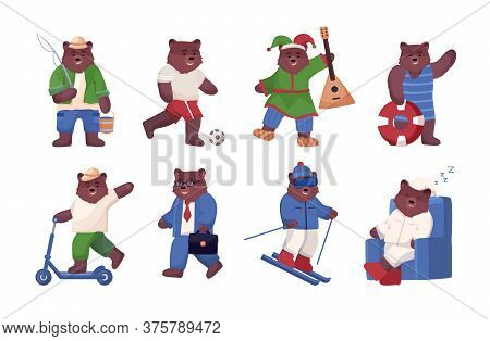 Big Set Of Bear In Different Situations, Animal Is Engaged In Active Sports And Recreation, Fishing,