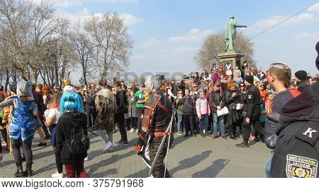 Odessa, Ukraine - 04 01 2019: A Carnival Procession Passes By The Assembled Spectators On The Boulev