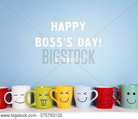 Boss Day Background With Colorful Mugs. Happy Boss Day Concept.