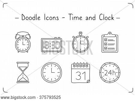 Clock And Time Icons, Handdrawn Doodle Style, Vector Eps10 Illustration