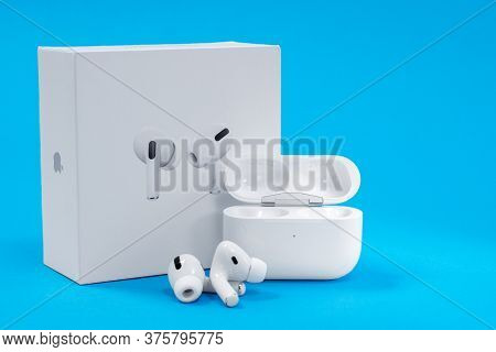 Rostov, Russia - July 06, 2020: New Unpacked Wireless Headphones Apple Airpods Pro With Opened Recha