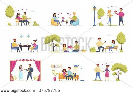 Love Couple Bundle With People Characters. Happy Couple Having Picnic In Park, Date In Caffe, Man Pr