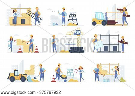 Builders Scenes Bundle With People Characters. Engineer, Painter, Road Worker And Bricklayer Working