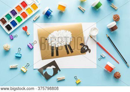 5 Diy Eid Al Adha Lamb Sheep Baby Craft On Blue Background. Gift Idea, Decor Eid Al Adha. Step By St