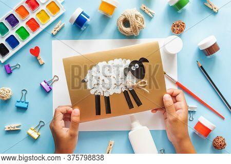 7 Diy Eid Al Adha Lamb Sheep Baby Craft On Blue Background. Gift Idea, Decor Eid Al Adha. Step By St