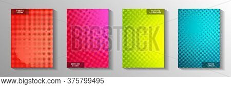Elegant Dot Screen Tone Gradation Front Page Templates Vector Series. Geometric Poster Faded Screen