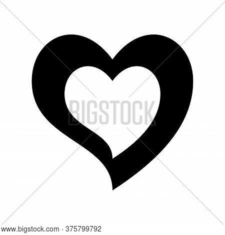 Heart Inside Heart Silhouette Style Icon Design Of Love Passion And Romantic Theme Vector Illustrati