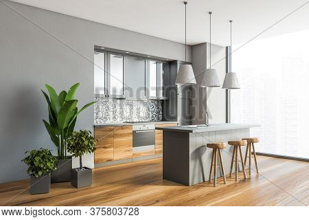 Corner Of Stylish Panoramic Kitchen With Gray And Tiled Walls, Wooden Floor, Wooden Countertops, Gra