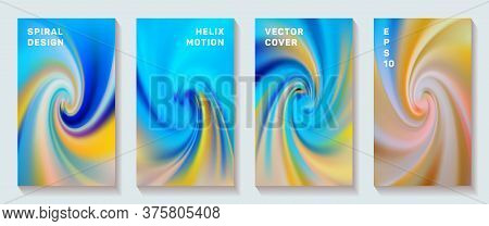 Fluid Gradient Spiral Volute Cover Page Templates Vector Set. Trendy Brochure Front Pages Collection