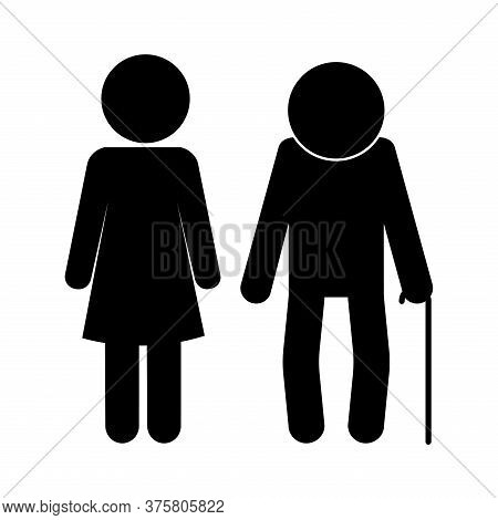 Grandfather And Daughter Avatar Silhouette Style Icon Design, Family Relationship And Generation The