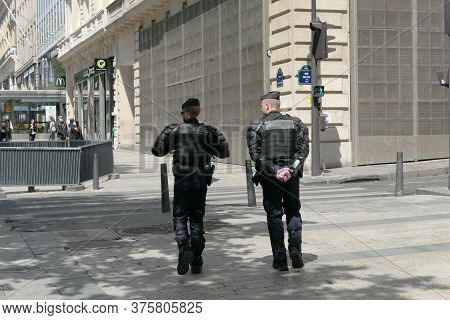 Paris, France. June 06. 2020. Police Patrol In A Tourist District. Monitoring Of The Streets By Law