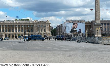Paris, France. June 06. 2020. Vehicles Of The Gendarmerie Parked For The Surveillance Of Tourist Sit