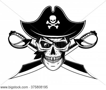 Bearded Evil Pirate. Sabers Crosswise. Captain Logo. Pirate Eye. Buccaneer Hat. Vintage Sailor Chara