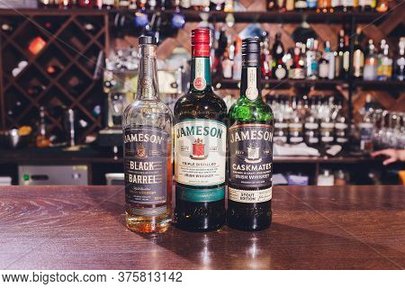 Ufa, Russia, 3 January, 2020: Jameson Whiskey Bottle In Store. Jameson Is A Brand Of Traditional Iri