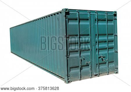 Green shipping container on white background.