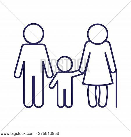 Grandmother Son And Grandson Avatar Line Style Icon Design, Family Relationship And Generation Theme
