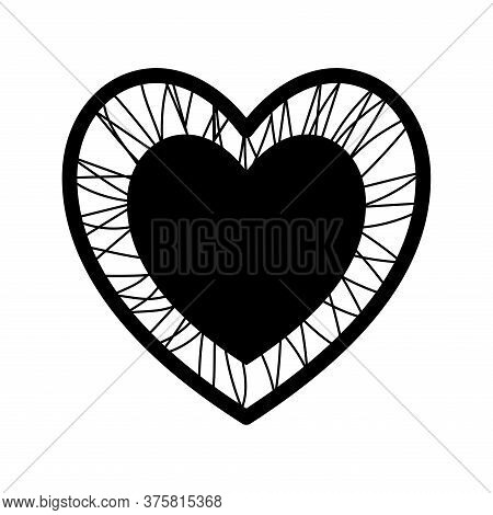 Heart With Crossing Threads Silhouette Style Icon Design Of Love Passion And Romantic Theme Vector I