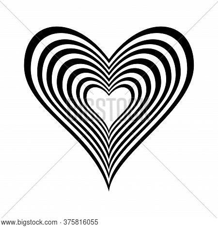 Hearts Inside Heart Silhouette Style Icon Design Of Love Passion And Romantic Theme Vector Illustrat