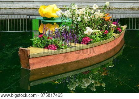 Festive Installation In The Form Of A Boat With Flowers. The City Of Voronezh. Russia. September 201