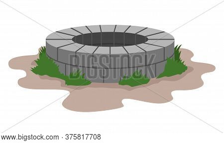 Old Stone Well. Ancient Water Source. Vector Illustration
