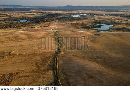 Landscape With Sowing Field Near Malpartida De Caceres. Extremadura.