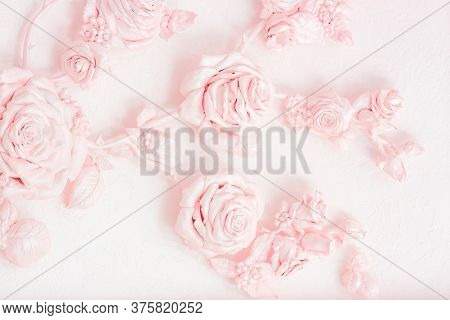 Pink Rose Buds On A Wall With Venetian Stucco. Delicate Image For A Wedding Card, Invitation, Busine