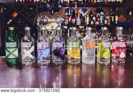 Ufa, Russia, 3 January, 2020: Vodka Selection At A Bar Including Seven Types Of Vodkas.